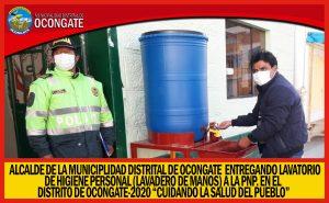 ALCALDE  DE LA MUNICIPALIDAD DISTRITAL DE OCONGATE ENTREGÓ «PILETA DE AGUA A PEDAL A LA PNP.