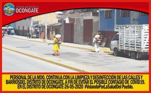 MDO. REALIZAN LIMPIEZA Y DESINFECCIÓN EN CALLES Y BARRIOS DEL DISTRITO DE OCONGATE.