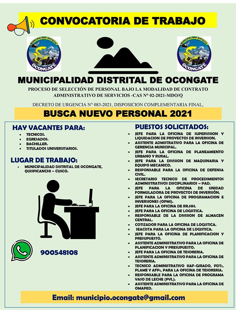 CONVOCATORIA CAS N° 02-2021-MDO/Q
